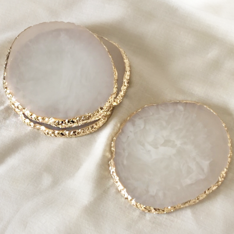 SET OF 4 AGATE STYLE RESIN COASTERS