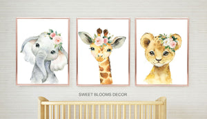 Animals Nursery Wall Art Watercolor Safari Girl Pink Coral Blush Floral Modern Boho Flowers Gift Baby Room Decor C818-Sweet Blooms Decor