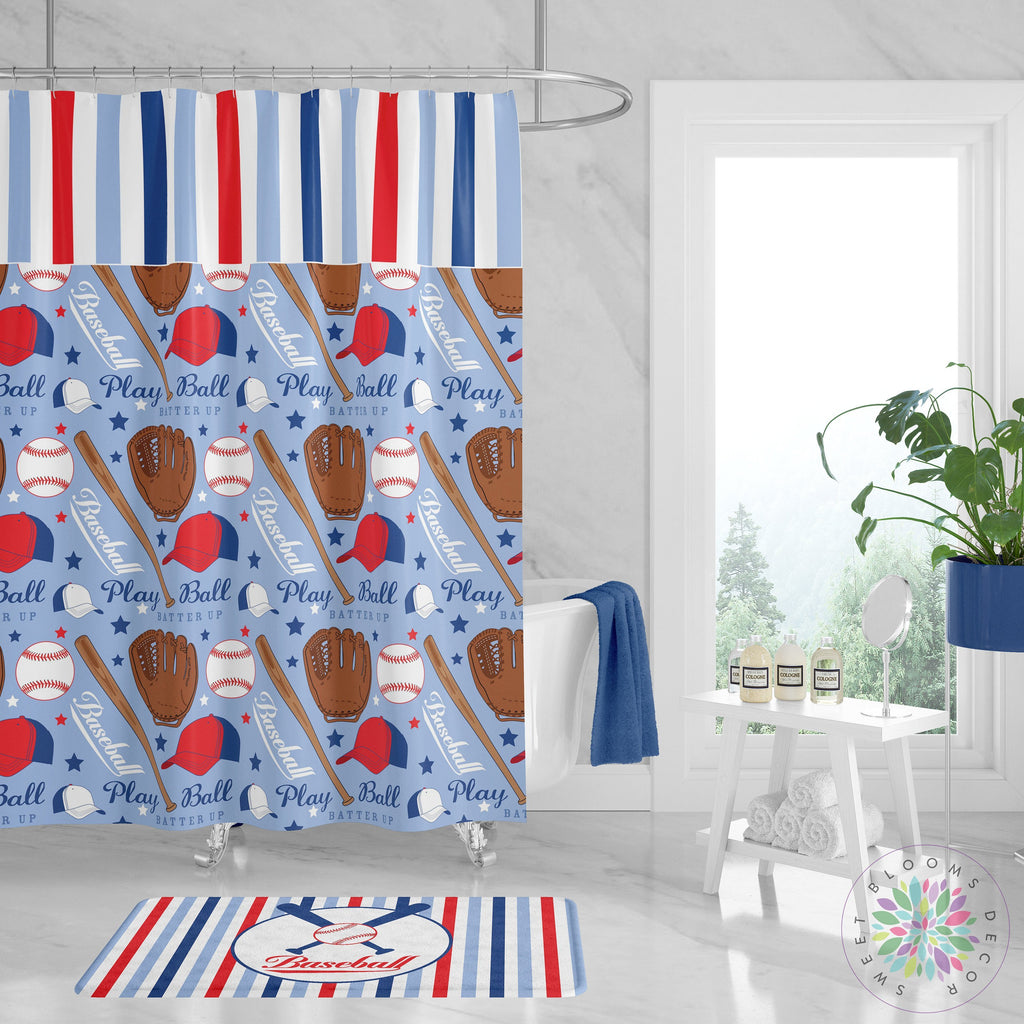 Baseball Shower Curtain Baseball Bathroom Decor Red Navy Blue Stripes Sweet Blooms Decor
