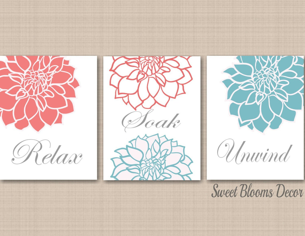 Coral Teal Bathroom Wall Art Coral Gray Bathroom Wall Art Aqua Floral Sweet Blooms Decor