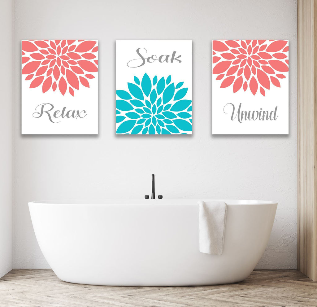 Coral Teal Floral Bathroom Wall Art Guest Bathroom Decor Prints Or Can Sweet Blooms Decor