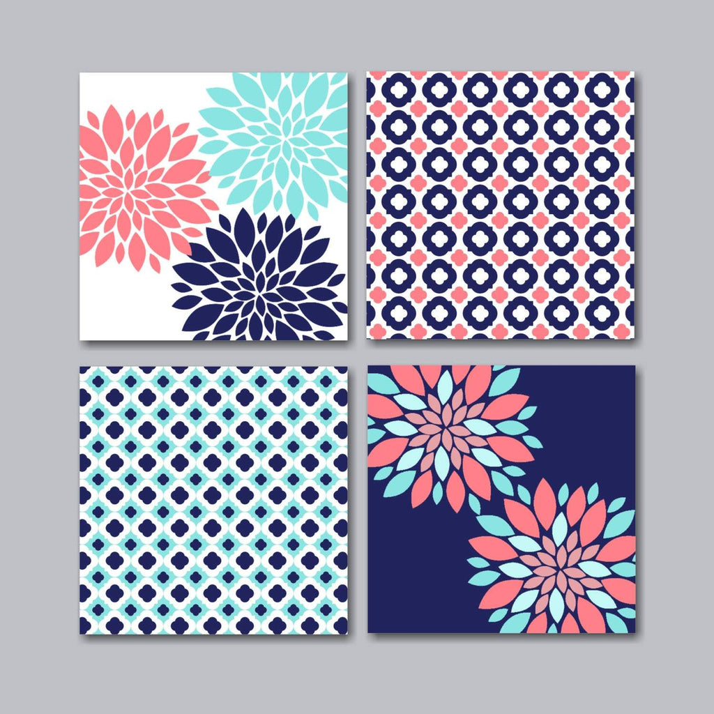 Coral Teal Navy Floral Wall Art Coral Floral Wall Art Navy Coral Flora Sweet Blooms Decor