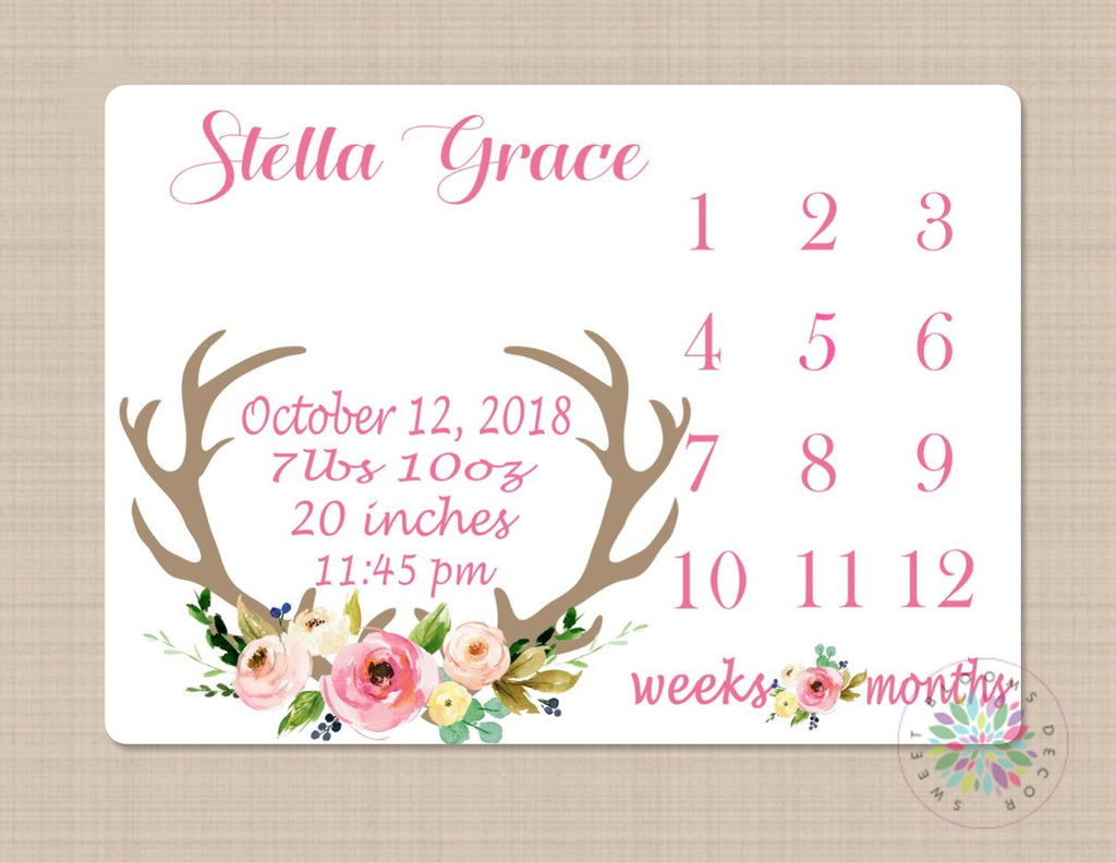 Baby Monthly Milestone Stickers Baby Girl Month Stickers Deer Antler Floral