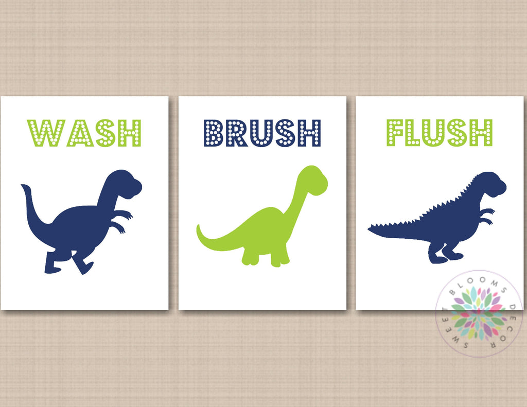 Dinosaur Bathroom Wall Art Dinosaur Bathroom Decor Navy Blue Lime Gree Sweet Blooms Decor
