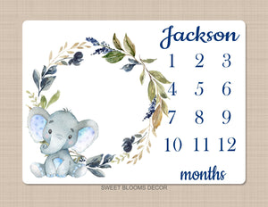 Elephant Milestone Blanket Baby Boy Leaves Blue Flowers Monthly Growth Tracker Personalized Nursery Decor Baby Shower Gift B1051