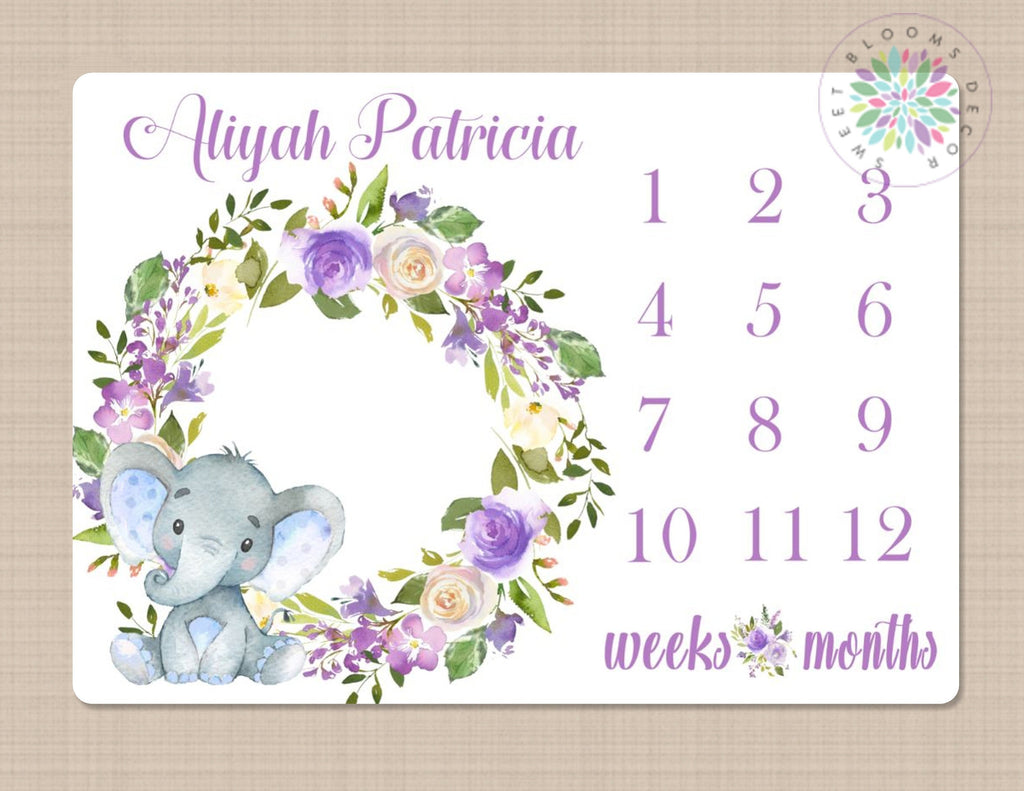 Baby Girl Name Blanket Personalized Floral Baby Blanket Monthly Milestone Blanket Month By Month Baby Blanket Floral Milestone Blanket