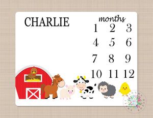 Farm Animals Milestone Blanket Monthly Growth Tracker Barn Animals Horse Cow Lmb Sheep Pig  Newborn Baby Name Blanket Baby Shower Gift B180