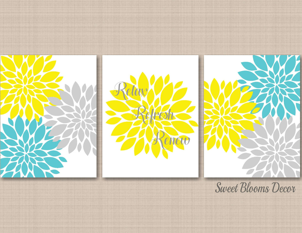 Floral Bathroom Wall Art Yellow Gray Teal Aqua Wall Decor Relax Refres Sweet Blooms Decor