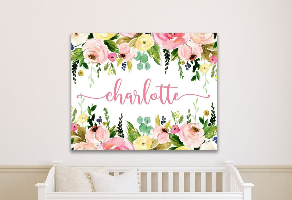 Girl Name Sign Custom Nursery Sign Baby Nursery Wall Art Baby Girl Personalized Gift Personalized Birth Info Sign Girl Room Decor