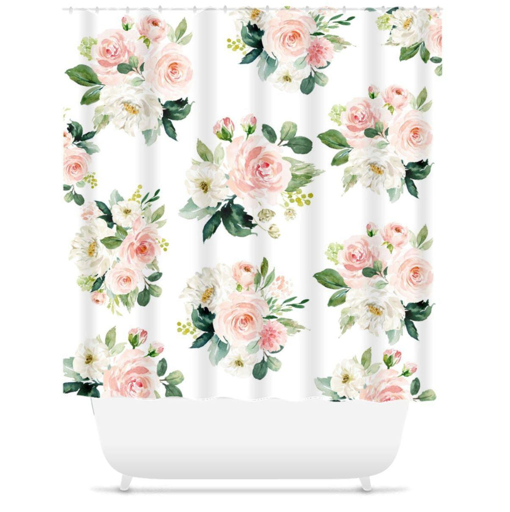 Floral Shower Curtain Blush Pink Coral Watercolor Flowers Green Leaves Sweet Blooms Decor