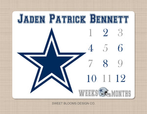 Football Milestone Blanket Dallas Cowboys Navy Blue Gray Personalized Baby Shower Gift B791