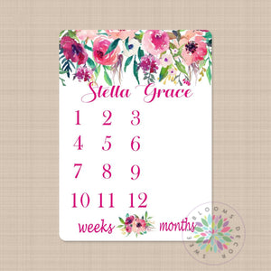 Girl Milestone Blanket Pink Floral Monthly Growth Tracker Personalized Newborn Baby Girl Watercolor Flowers Blanket Baby Shower Gift B381