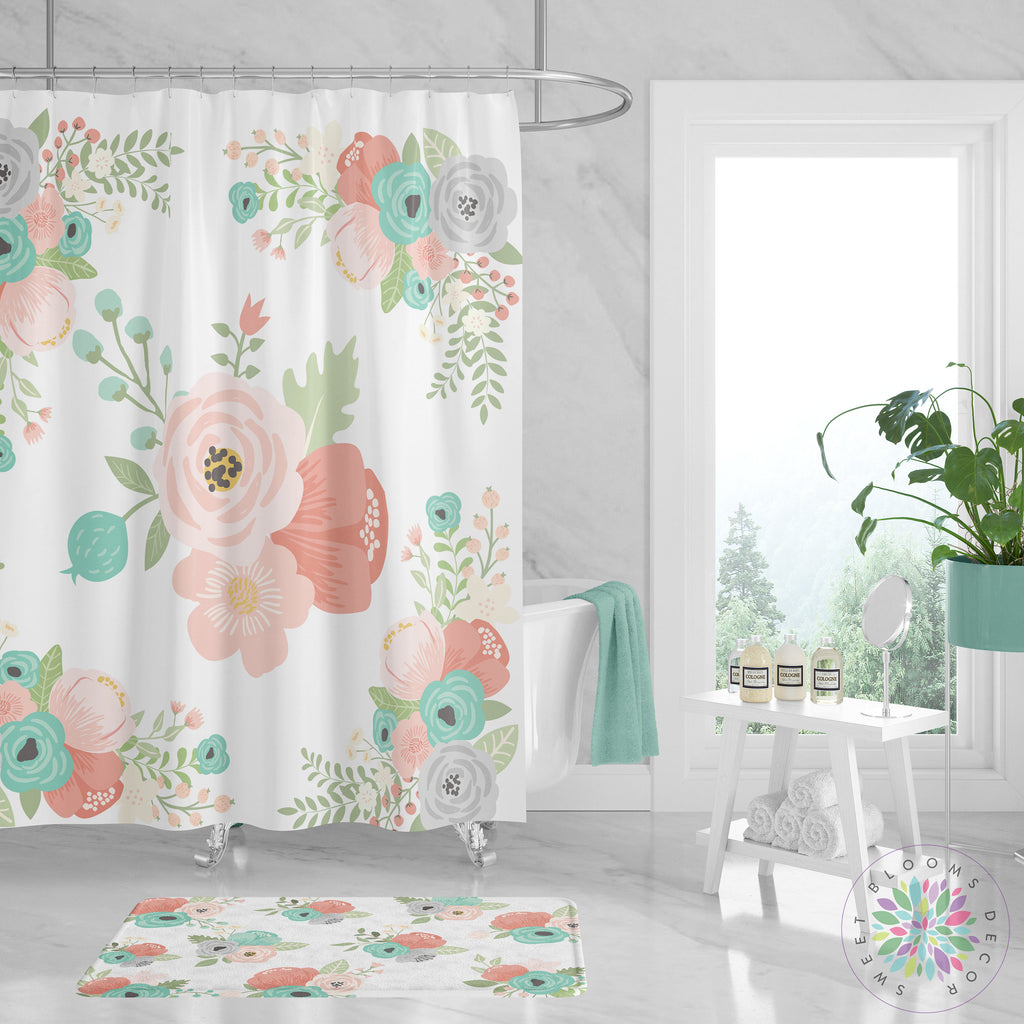 Floral Shower Curtain Coral Teal Mint Gray Flowers Bathroom Curtain De Sweet Blooms Decor
