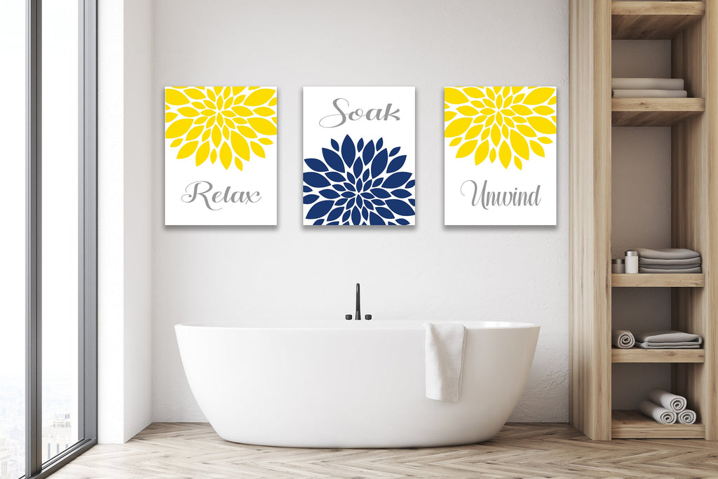 Yellow Navy Blue Floral Shower Curtain Dahlia Flowers Bathroom Decor B Sweet Blooms Decor
