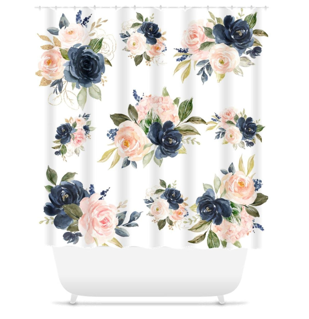 Floral Shower Curtain Blush Pink Coral Navy Blue Watercolor Flowers Be Sweet Blooms Decor