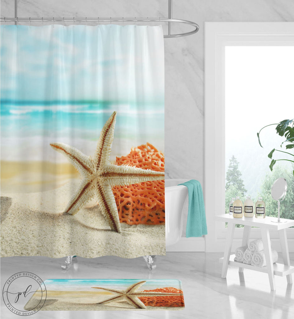 Starfish Pink Green Blue Coastal Tropical Throw Blanket NEW Beach 50x70 Ocean