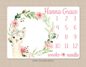 Llama Pink Floral Milestone Blanket Monthly Growth Tracker Newborn Baby Girl Name Baby Shower Gift B1022