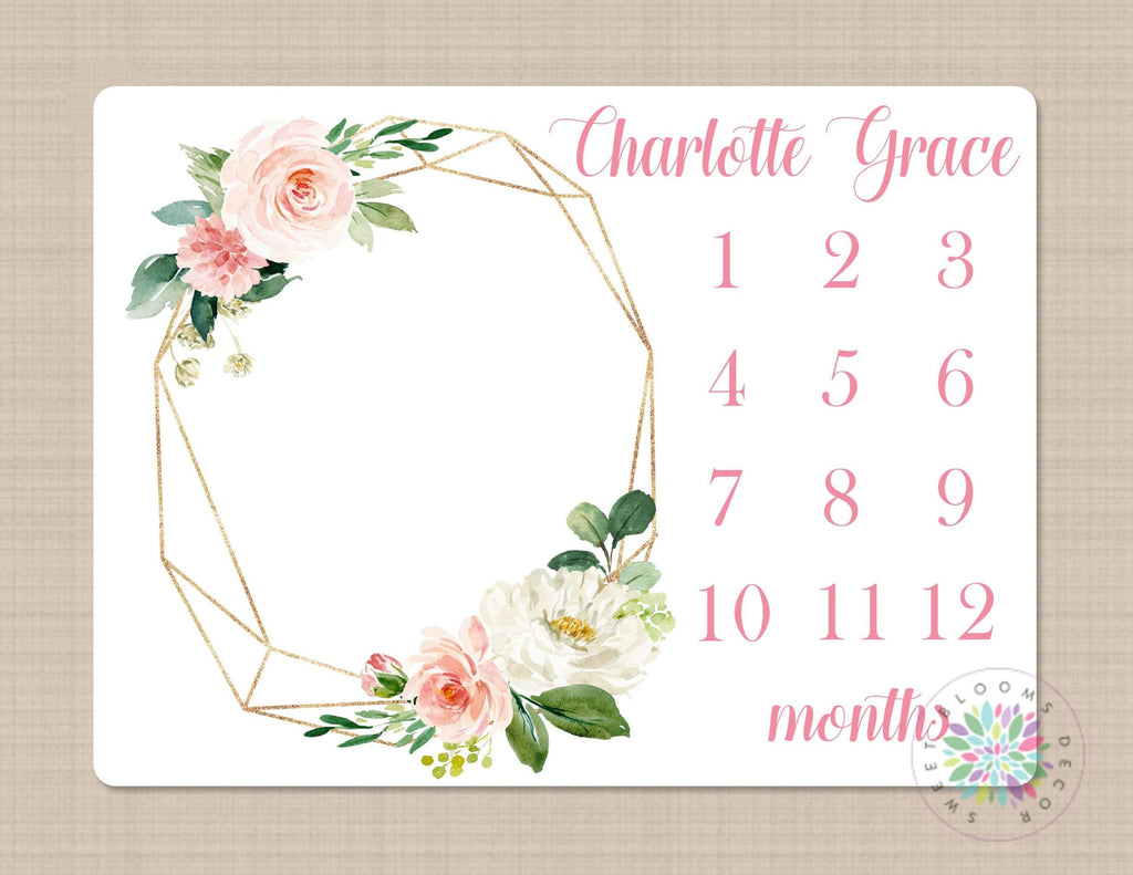 Personalized Baby Shower Gift Pink Floral Wreath Milestone Blanket