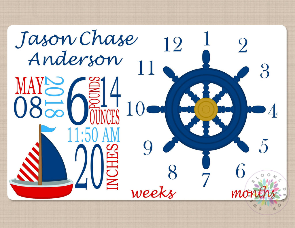 Nautical Boy Milestone Blanket Navy Blue Red Boat Monthly Gowth Blanke Sweet Blooms Decor