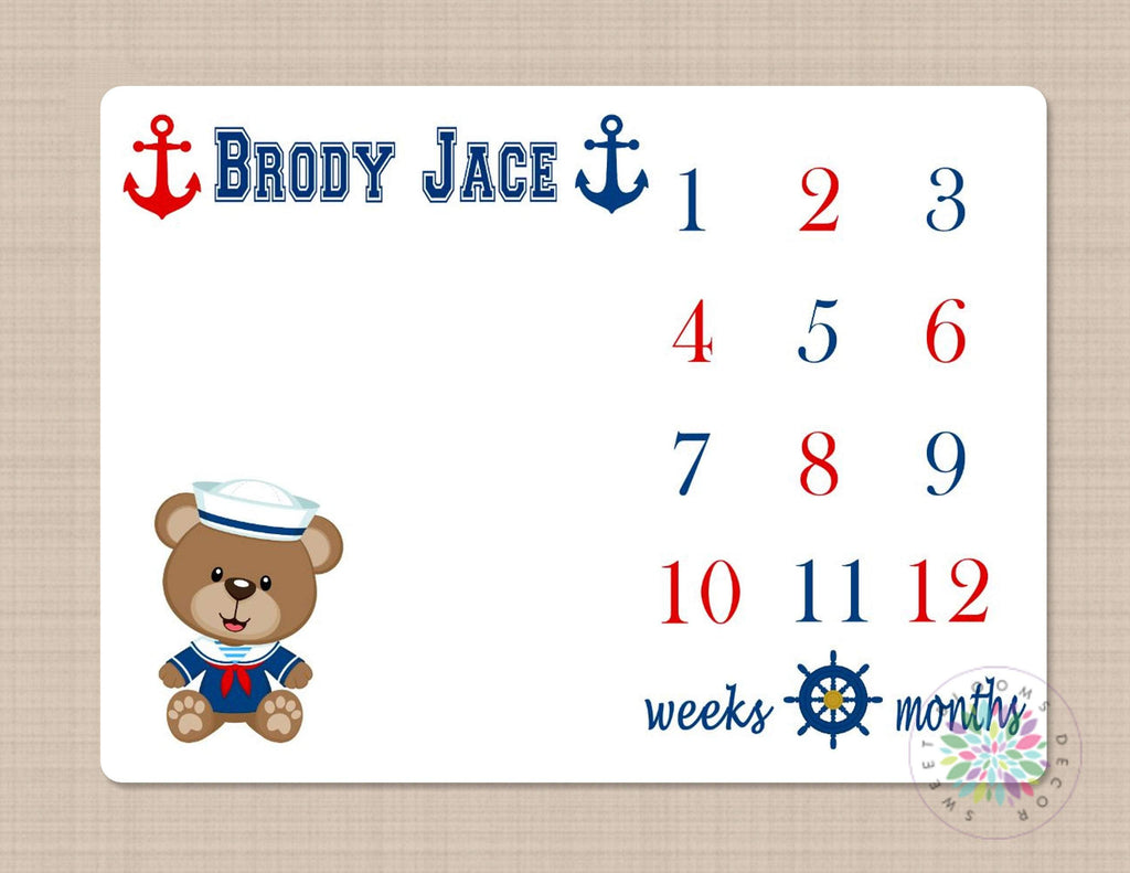 Nautical Milestone Blanket Baby Boy Anchor Bear Monthly Growth Tracker Sweet Blooms Decor