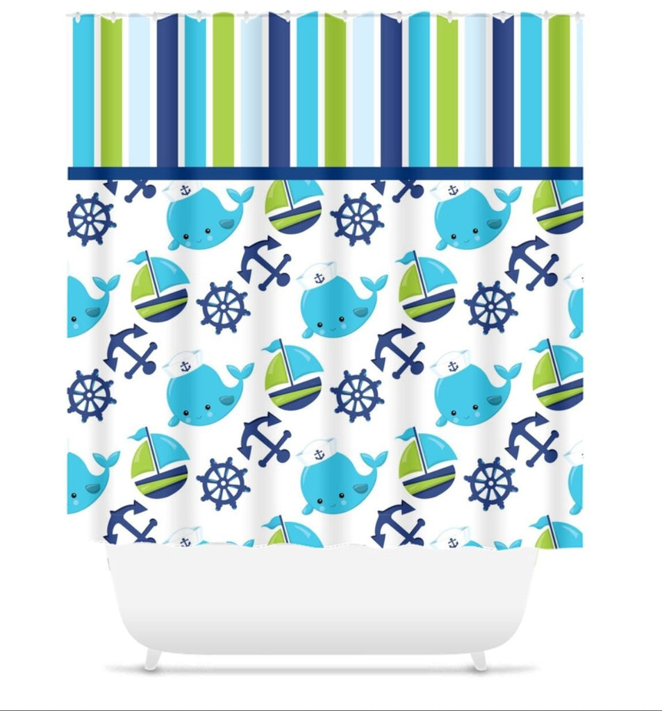Nautical Shower Curtain Whale Shower Curtain Boat Anchor Navy Green Sh Sweet Blooms Decor
