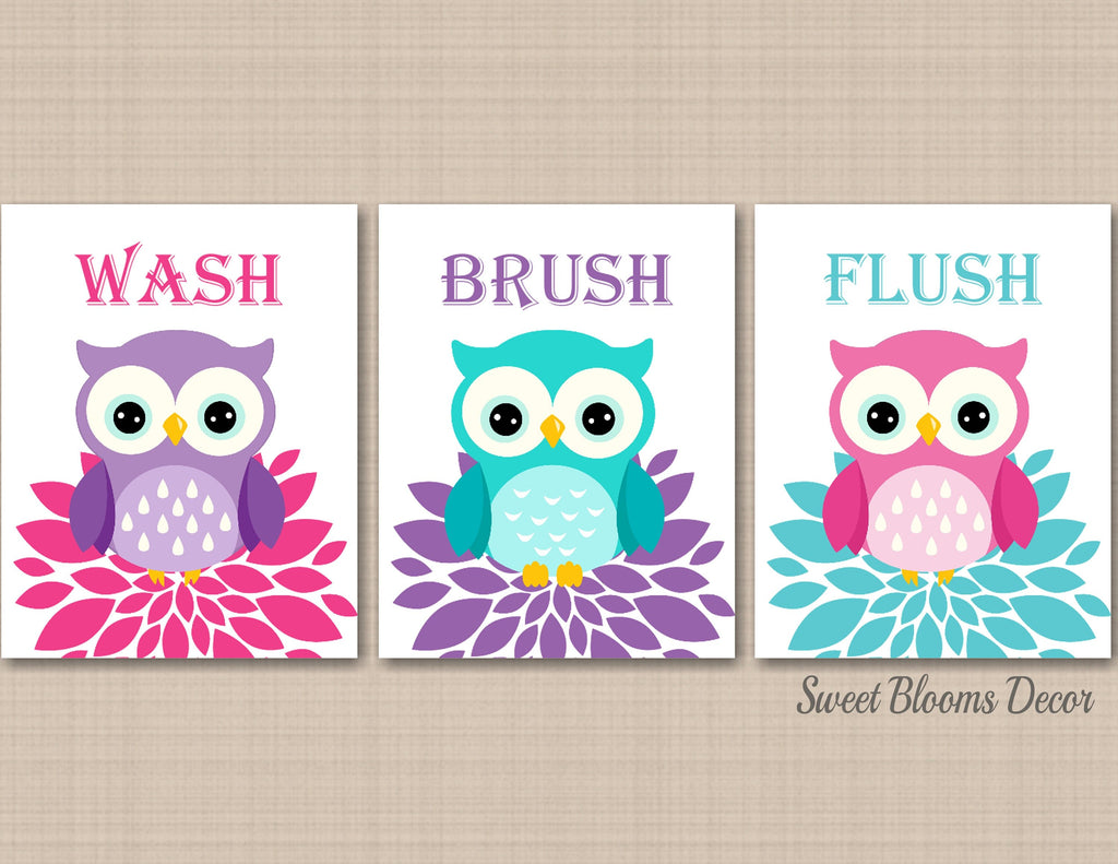 Owl Bathroom Wall Art Owl Kids Bathroom Wall Art,Owl Bathroom Decor,Owl  Nursery Wall Art,Owls Bath,Girl Bathroom Decor 12 C12