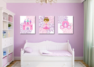 Princess Nursery Wall Art Pink Purple Teal Castle CarriageFlowers Floral Girl Bedroom Decor Bbay Shower Gift UNFRAMED C240-Sweet Blooms Decor