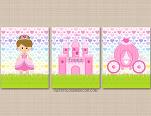 Princess Wall Art Castle Carriage Hearts Girl Bedroom Decor C937