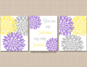 Purple Yellow Gray Floral Nursery Wall Art You Are my Sunshine C940