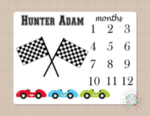 Race Cars Milestone Blanket Monthly Personalized Transportation Months Baby Name Monthly Growth Tracker Baby Shower Gift B159
