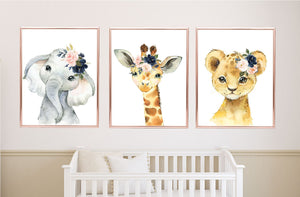 Safari Animals Floral Nursery Wall Art Watercolor Blush Pink Navy Blue Flowers C917