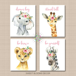 Safari Animals Girl Nursery Wall Art Watercolor Blush Pink Flowers Nursery Quotes C923