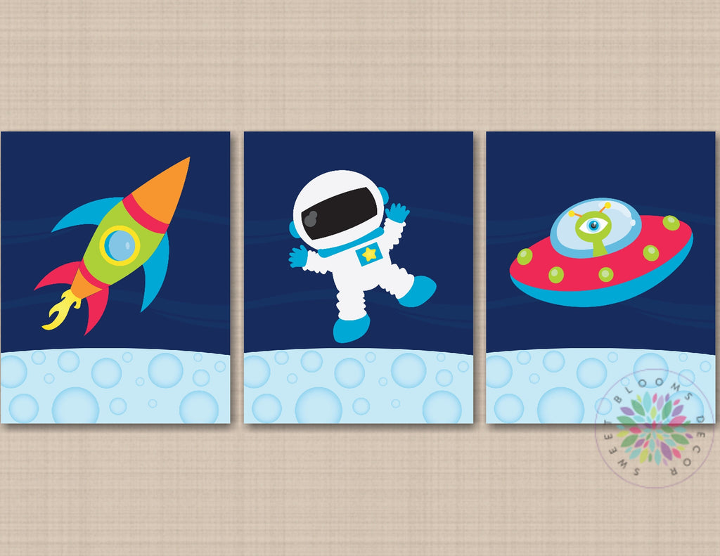 Space Kids Wall Nursery Art Rockets Astronaut Spaceship Outerspace Bab Sweet Blooms Decor