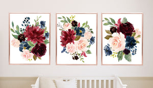 Floral Wall Art Watercolor Burgundy Red Navy Blue Blush Pink Modern Flowers Roses Baby Nursery Bedroom Decor