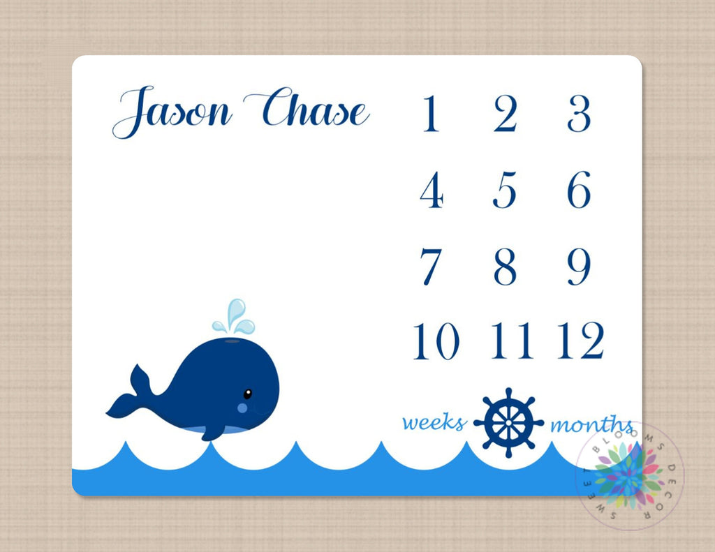 Whale Milestone Blanket Baby Boy Nautical Monthly Growth Tracker New B Sweet Blooms Decor