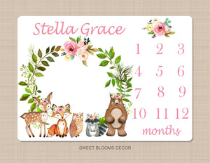 Woodland Girl Milestone Blanket Pink Floral Monthly Growth Tracker Newborn Baby Girl Name Wreath Flowers Baby Shower Gift B1045