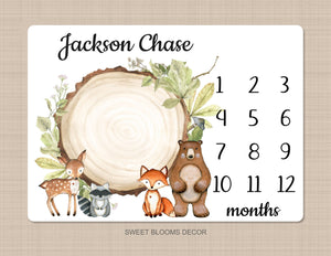 Woodland Milestone Blanket Personalized Rustic Forest Animals Greenery Bear Fox Deer Raccoon 1040