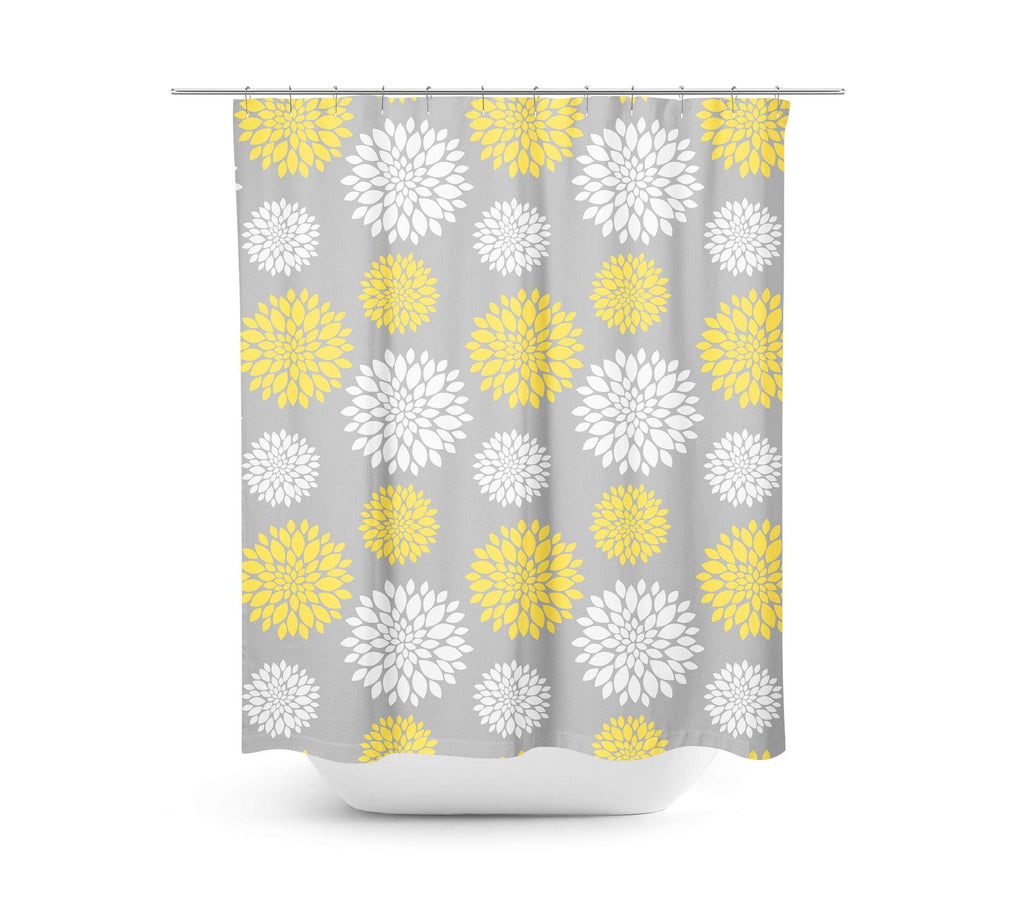 Yellow Gray Floral Shower Curtain Bathroom Decor Modern Simple Shower Sweet Blooms Decor