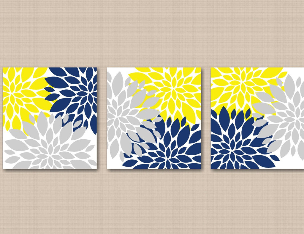Yellow Navy Blue Gray Floral Wall Art Flowers Burst Bedroom Wall Decor Sweet Blooms Decor