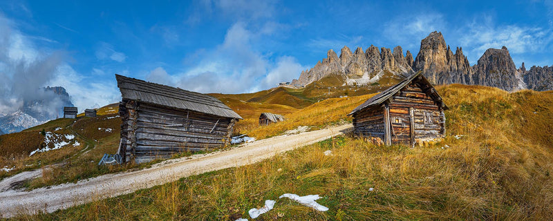 Old Huts on Passo Gardena in Dolomites