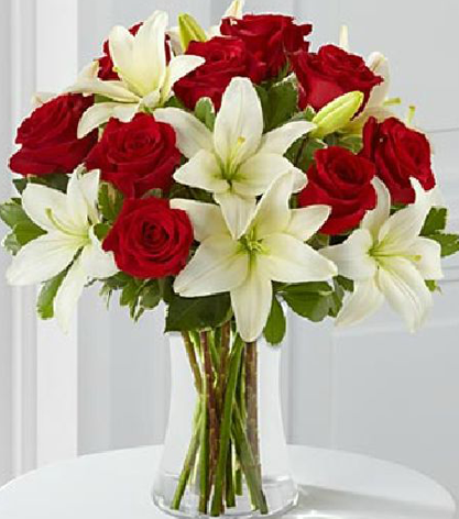 White Lilies & Red Rose Arrangement
