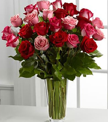 Red and Pink Rose Arrangement