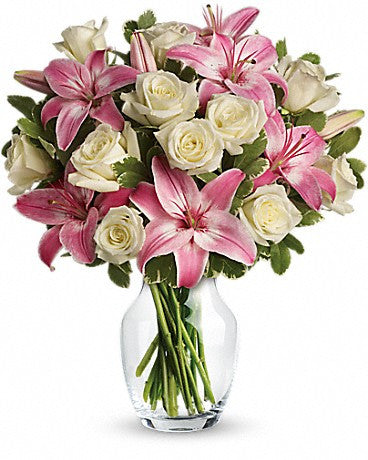 White Roses & Pink Lily Arrangement