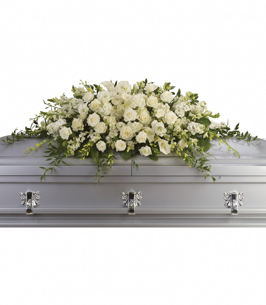Premium White Sympathy Casket Spray