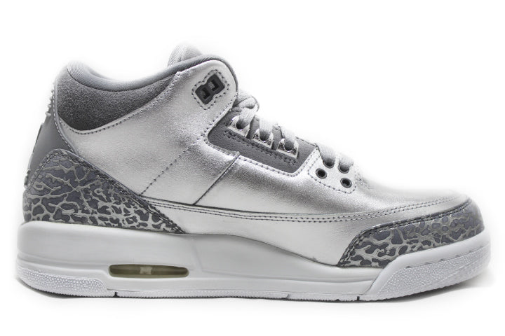 KICKCLUSIVE - Air Jordan 3 Retro Metallic Silver  -Air Jordan 3 Retro Metallic Silver-  Metallic Silver 3- Jordan 3 Metallic Silver - Retro 3 -Metallic Silver 3s -Jordan 3 for sell- Jordan 3 for Sale- AJ3-  Metallic Silver Jordan Threes-Metallic Silver Jordan 3-  Metallic Silver Jordans - GS AJ3 - AJ3 Metallic Silver GS-3