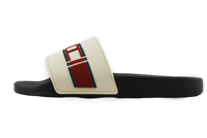 GUCCI Stripe Rubber Slide Sandal WHITE RED GREEN