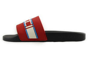 GUCCI Stripe Rubber Slide Sandal RED WHITE BLUE