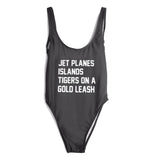 JET PLANES ISLANDS TIGERS ON A GOLD LEASH SWIMSUIT