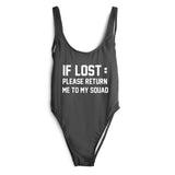 IF LOST RETURN TO SQUAD SWIMSUIT