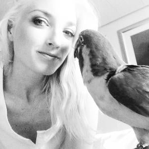 Me and my blue throated macaw Jinx in my stateroom cabin on board the NCL Dawn.